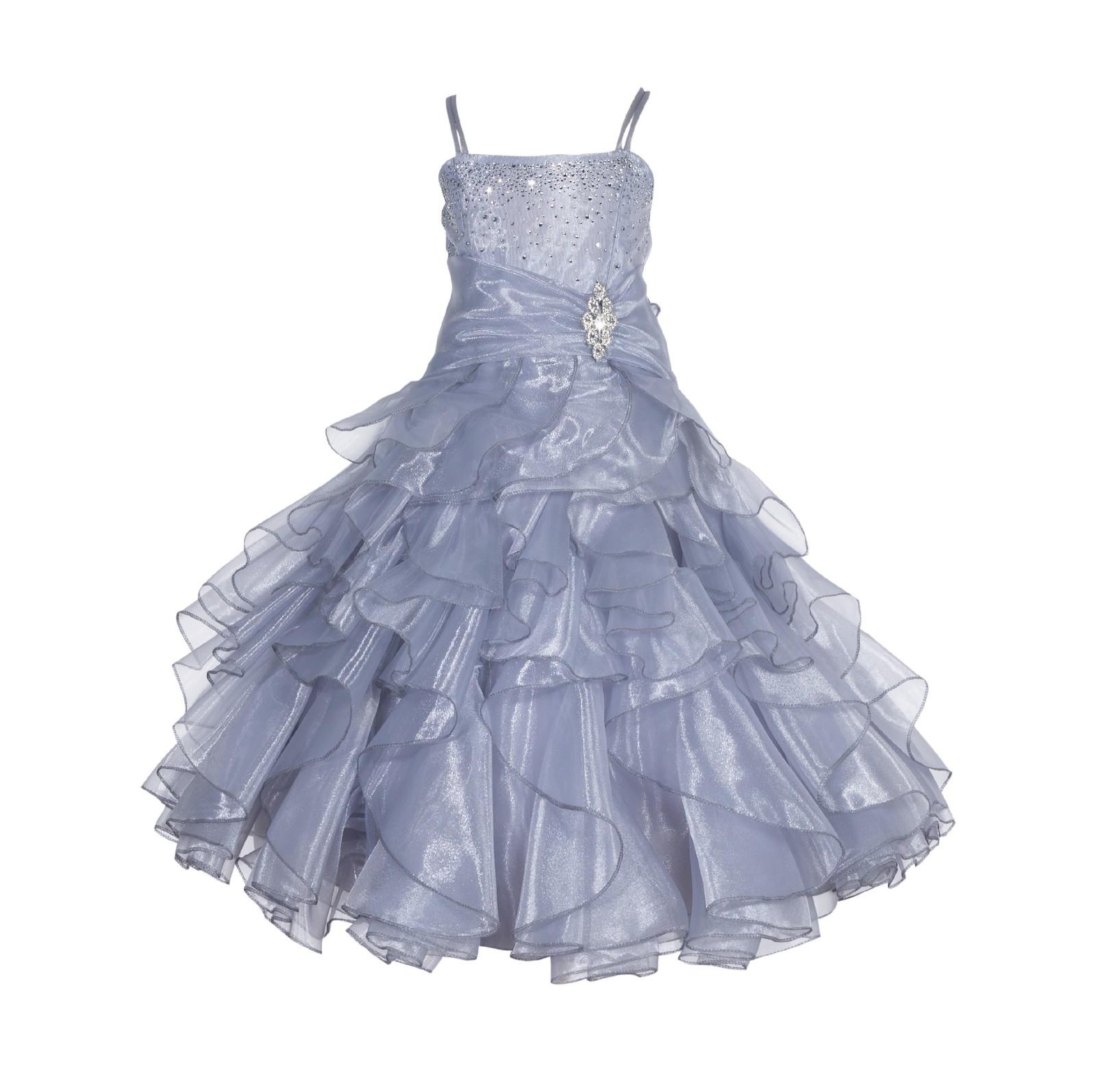 Silver Rhinestone Organza Layers Flower Girl Dress Elegant Stunning 164S