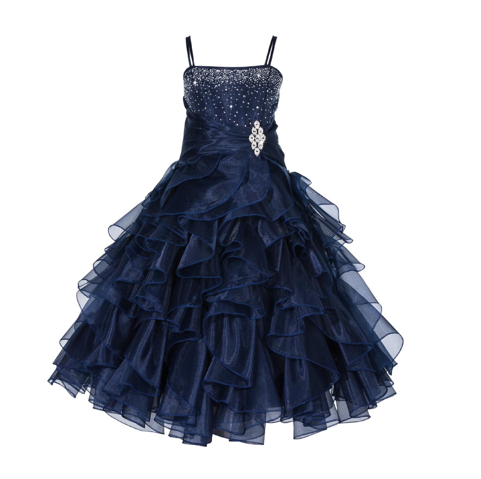 Marine Rhinestone Organza Layers Flower Girl Dress Elegant Stunning 164S
