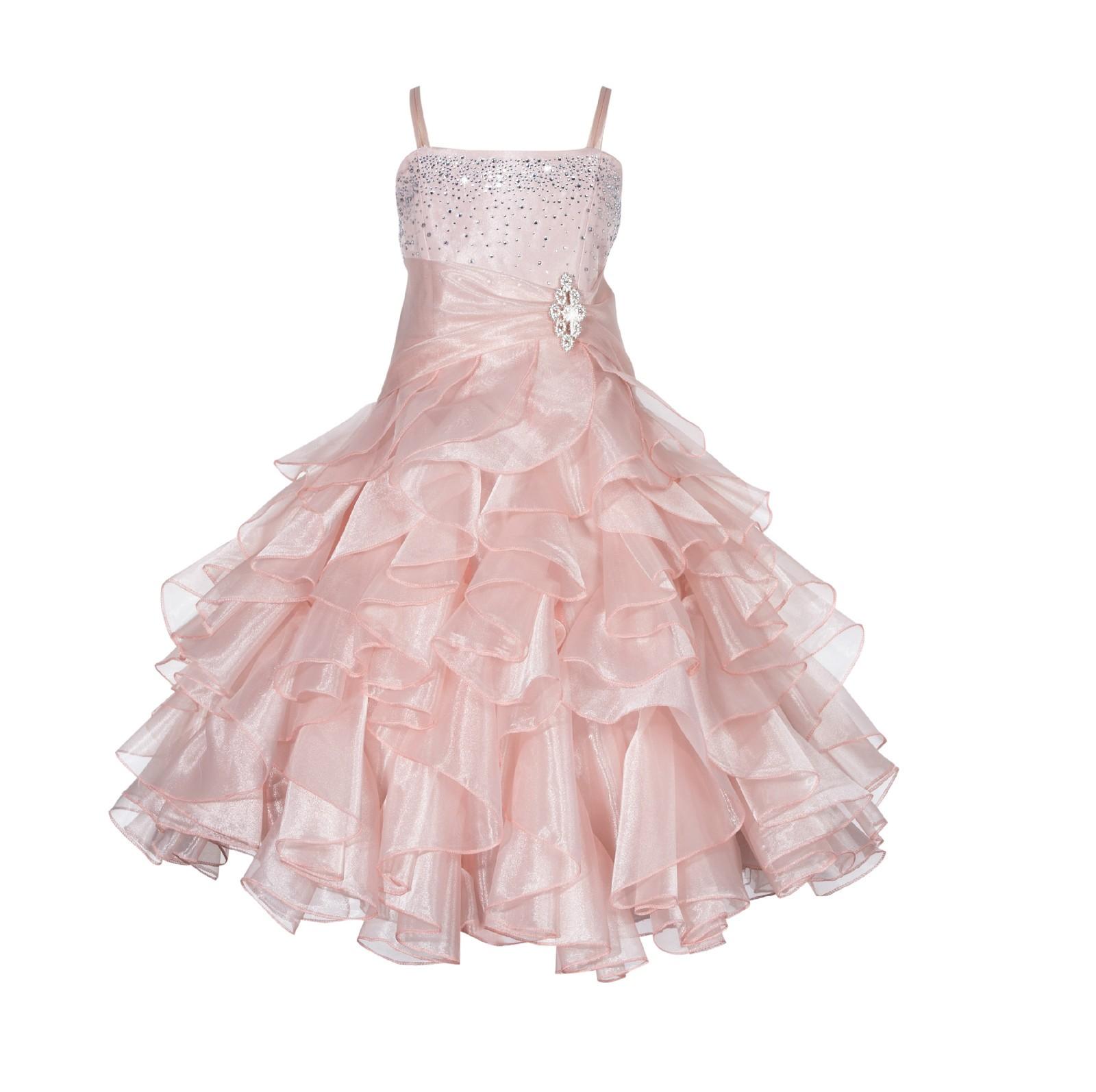 Blush Pink Rhinestone Organza Layers Flower Girl Dress Elegant Stunning 164S