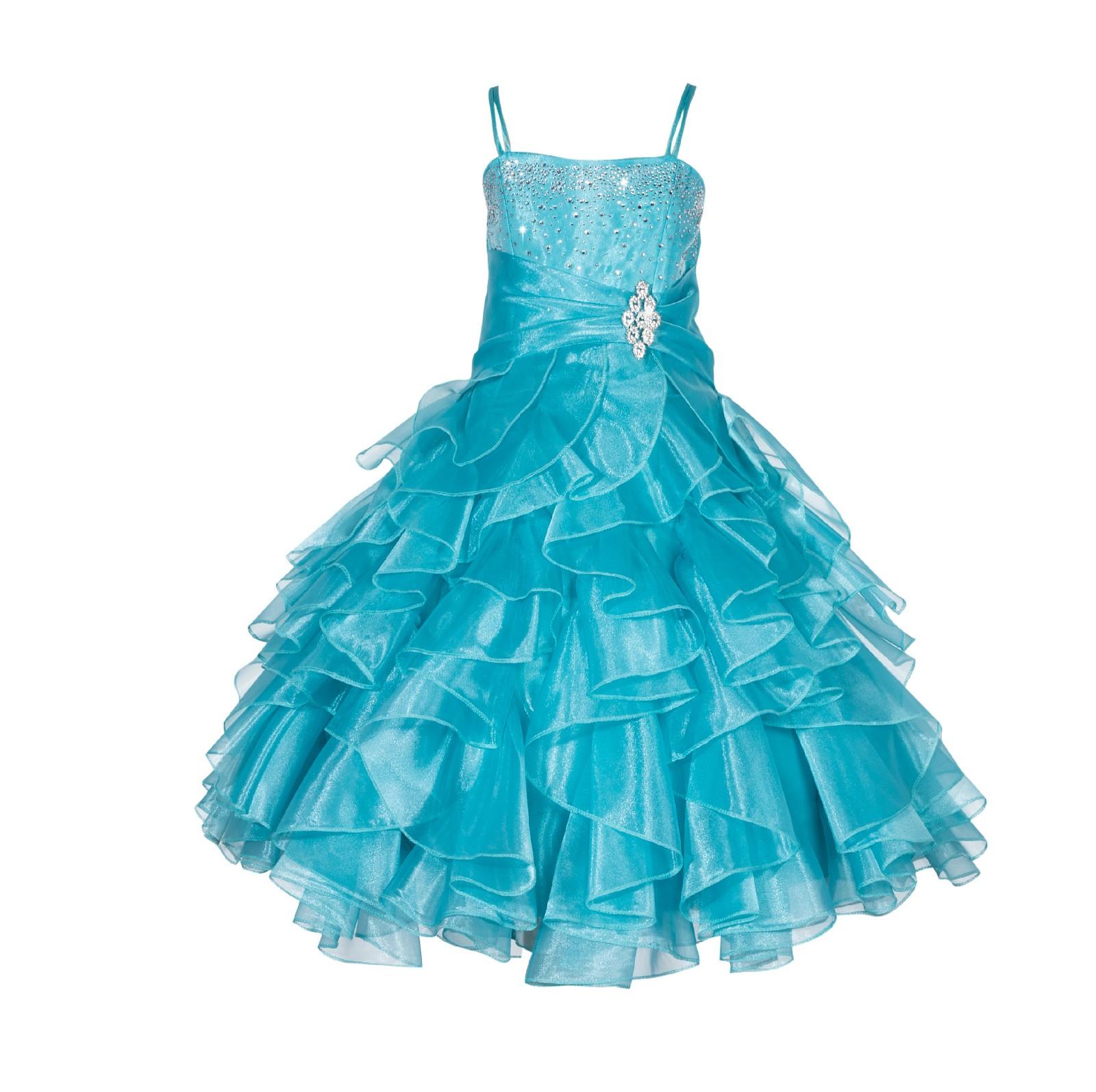 Tiffany Rhinestone Organza Layers Flower Girl Dress Elegant Stunning 164S