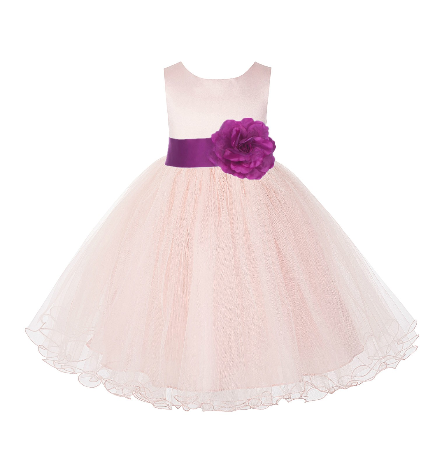 Blush Pink /Raspberry Tulle Rattail Edge Flower Girl Dress Pageant Recital 829S
