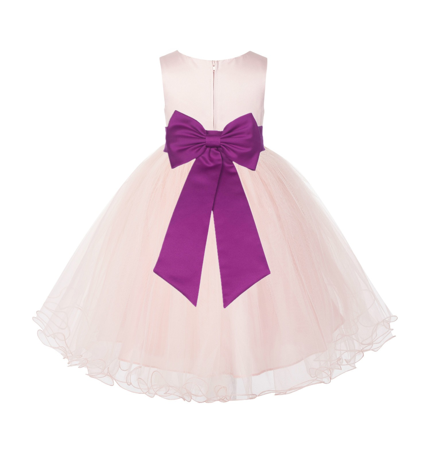 Blush PInk / Raspberry Tulle Rattail Edge Flower Girl Dress Wedding Bridesmaid 829T