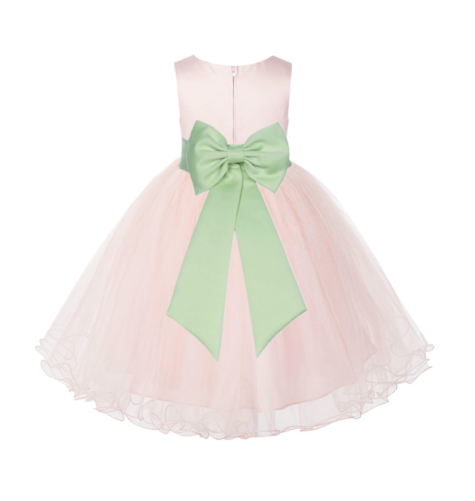 Blush PInk / Apple Green Tulle Rattail Edge Flower Girl Dress Wedding Bridesmaid 829T