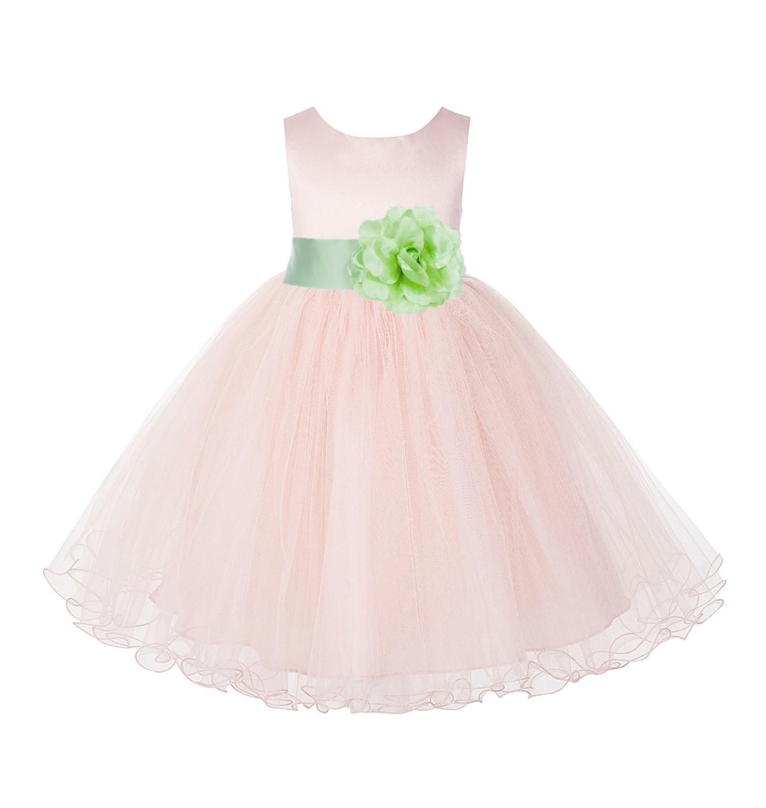 Blush Pink / Apple green Tulle Rattail Edge Flower Girl Dress Pageant Recital 829S