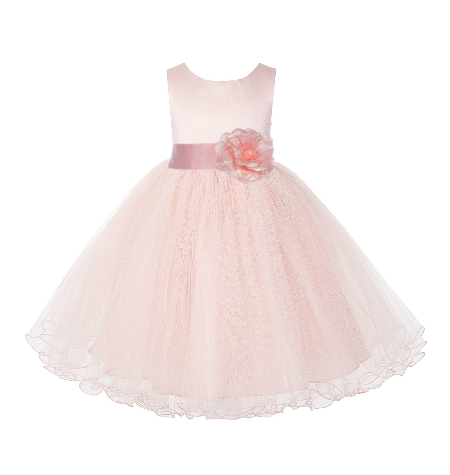 Blush Pink / Peach Rattail Edge Flower Girl Dress Pageant Recital 829S