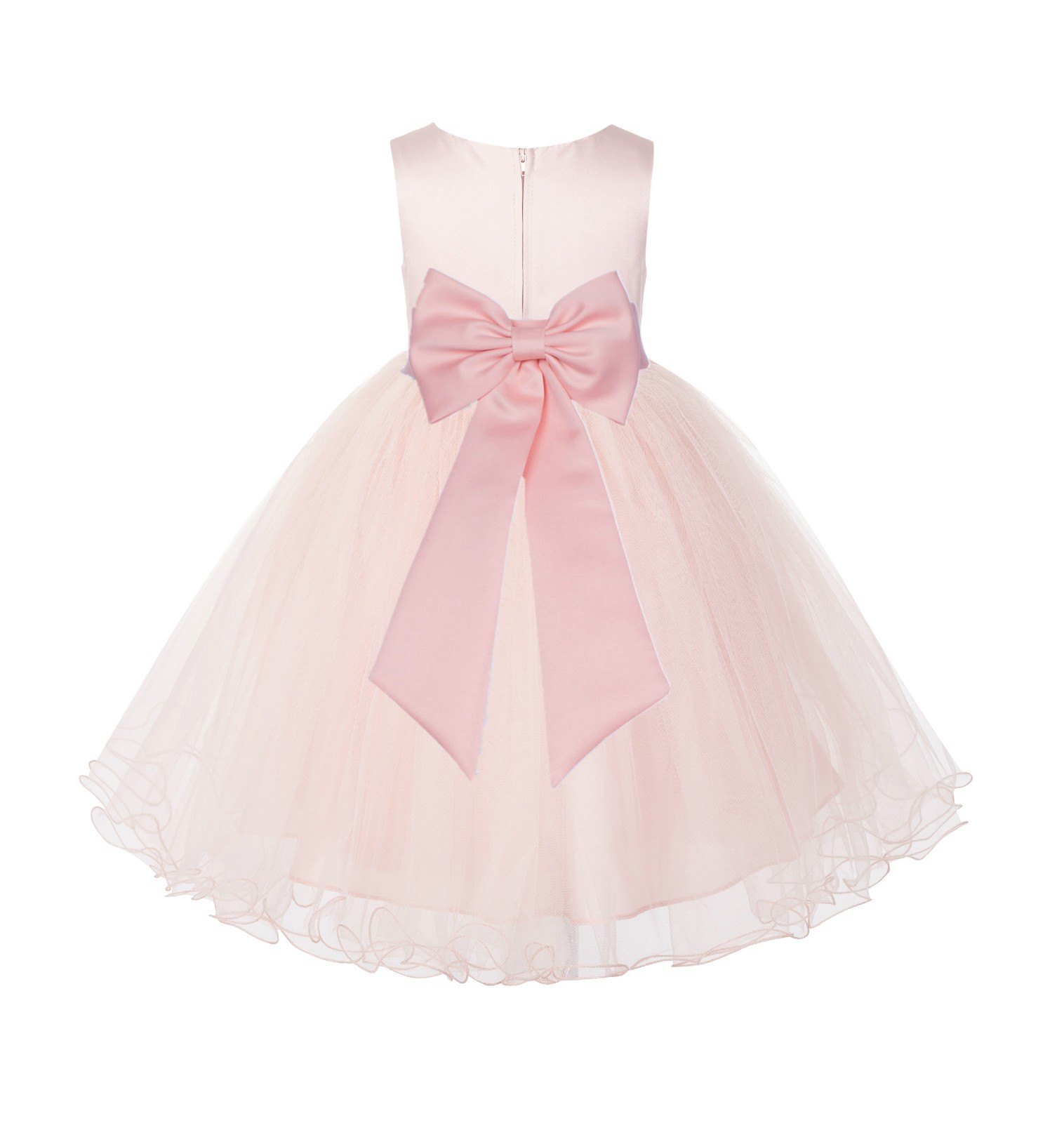Blush PInk / Peach Tulle Rattail Edge Flower Girl Dress Wedding Bridesmaid 829T