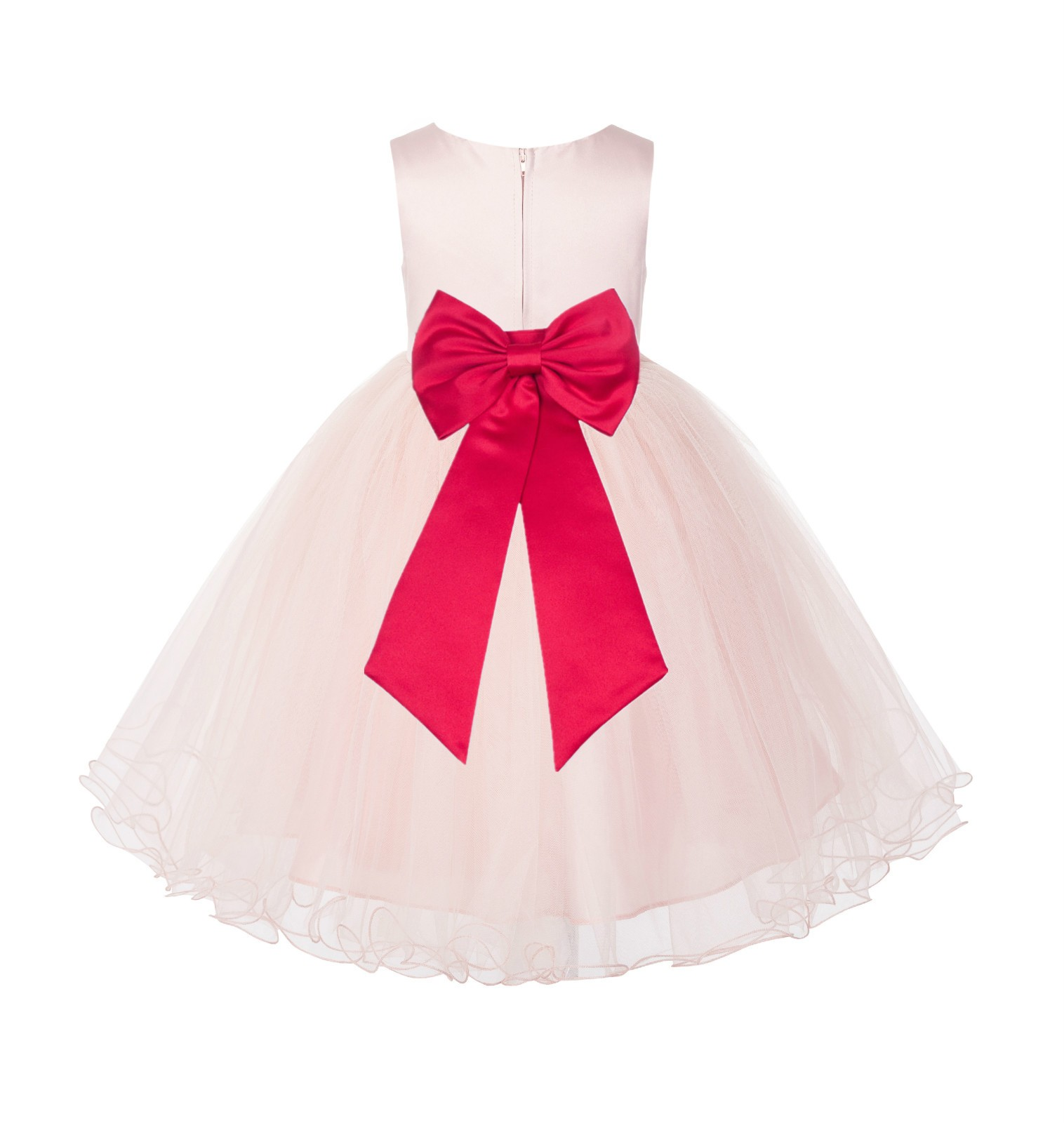 Blush PInk / Cherry Tulle Rattail Edge Flower Girl Dress Wedding Bridesmaid 829T
