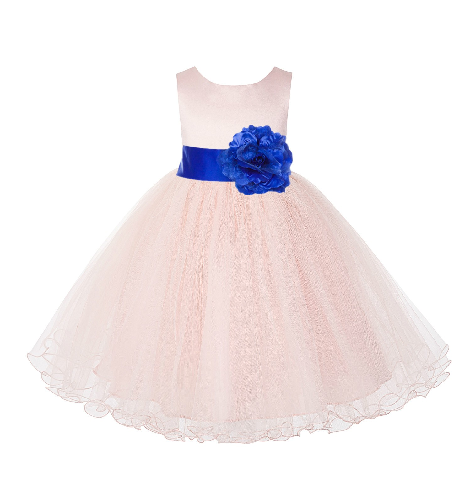 Blush Pink / Horizon Tulle Rattail Edge Flower Girl Dress Pageant Recital 829S
