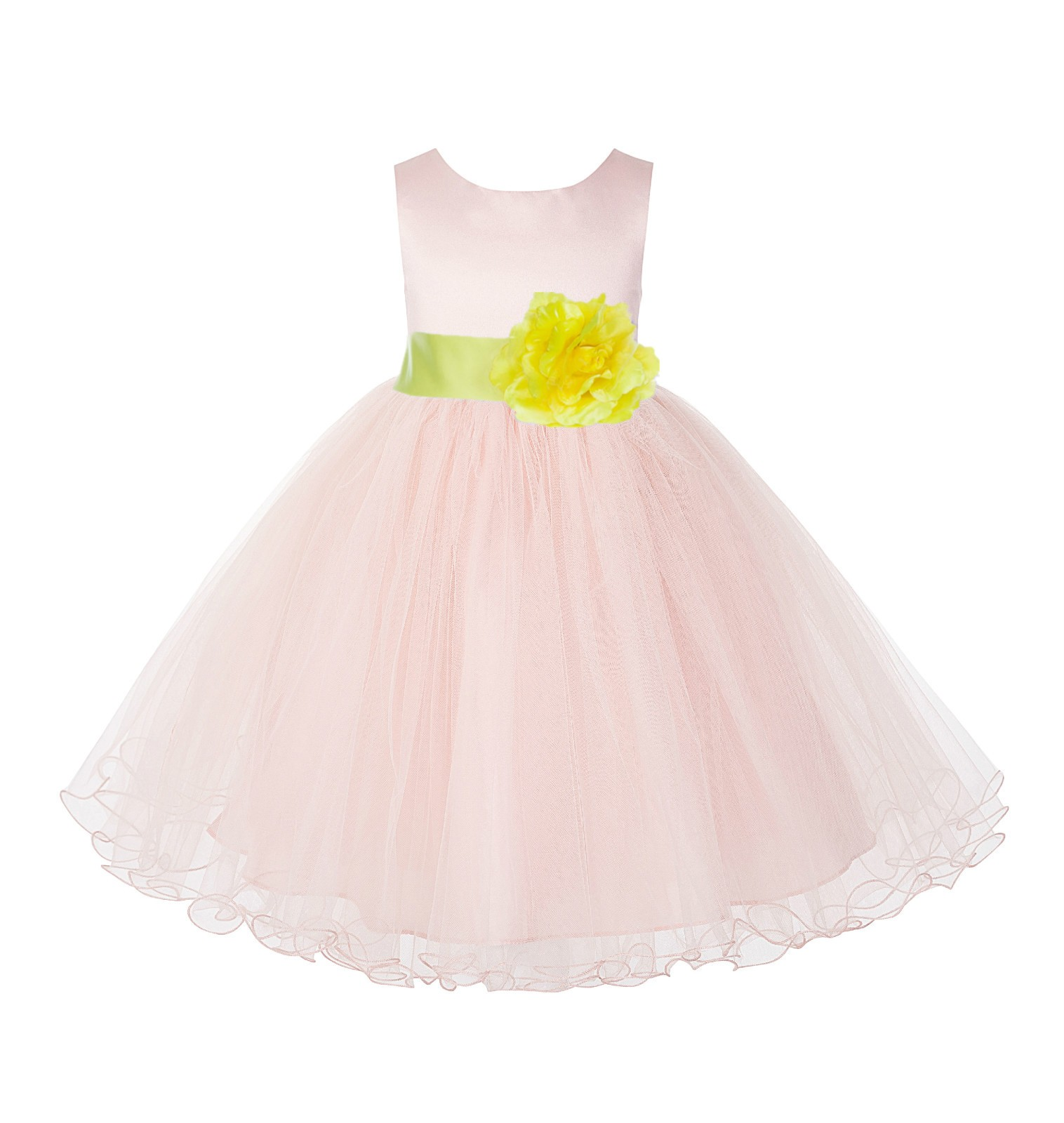 Blush Pink / Lemon Tulle Rattail Edge Flower Girl Dress Pageant Recital 829S