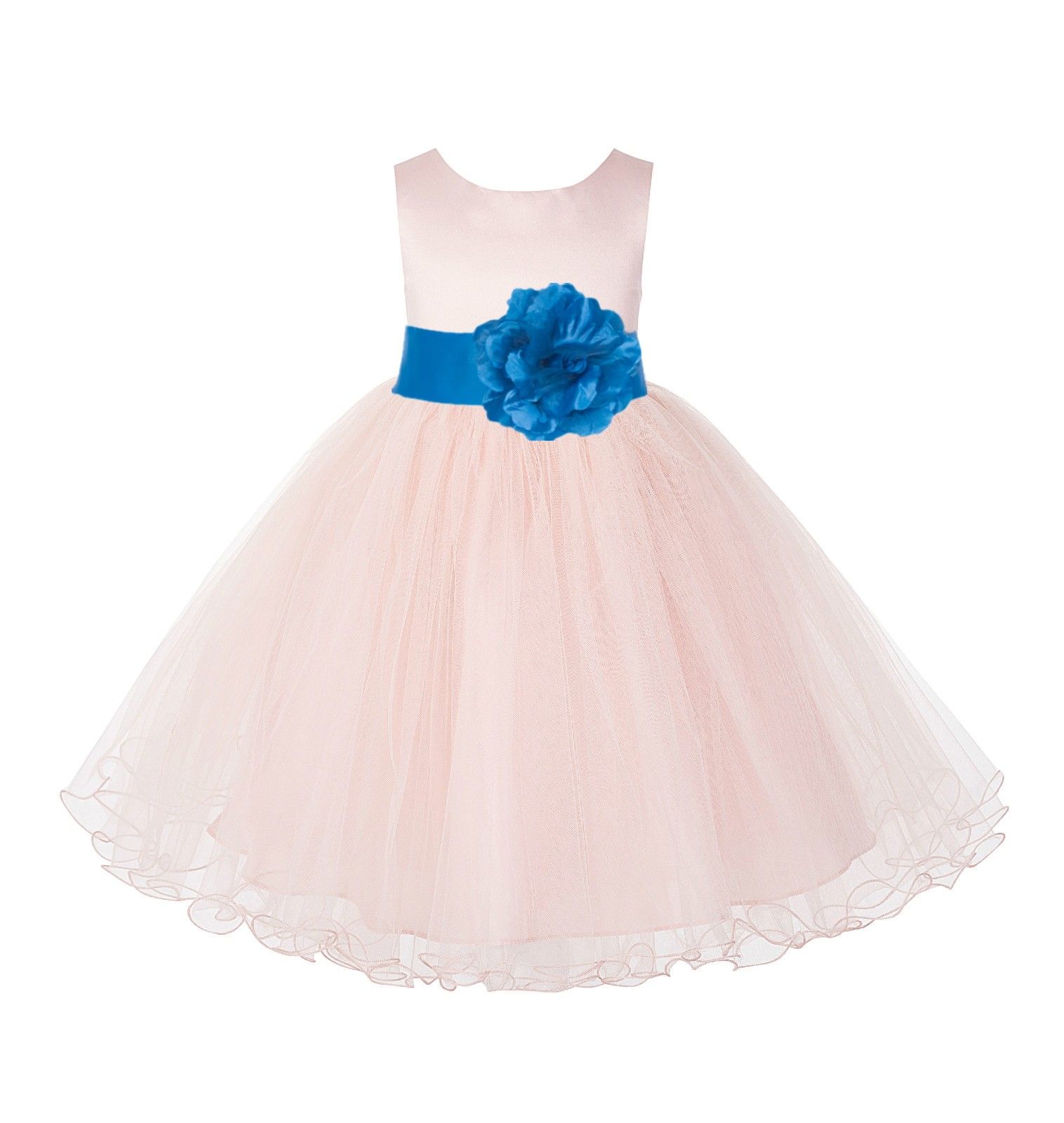 Blush Pink / MalibuTulle Rattail Edge Flower Girl Dress Pageant Recital 829S