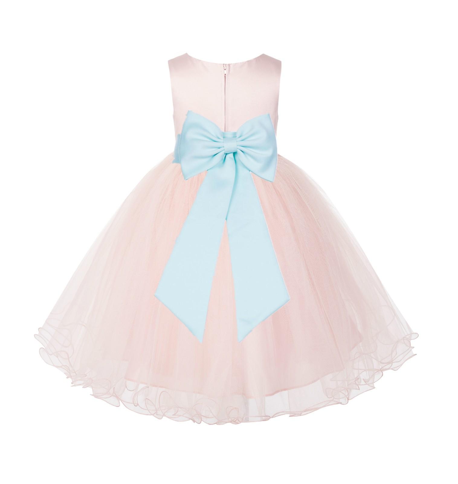 Blush PInk / Mint Tulle Rattail Edge Flower Girl Dress Wedding Bridesmaid 829T