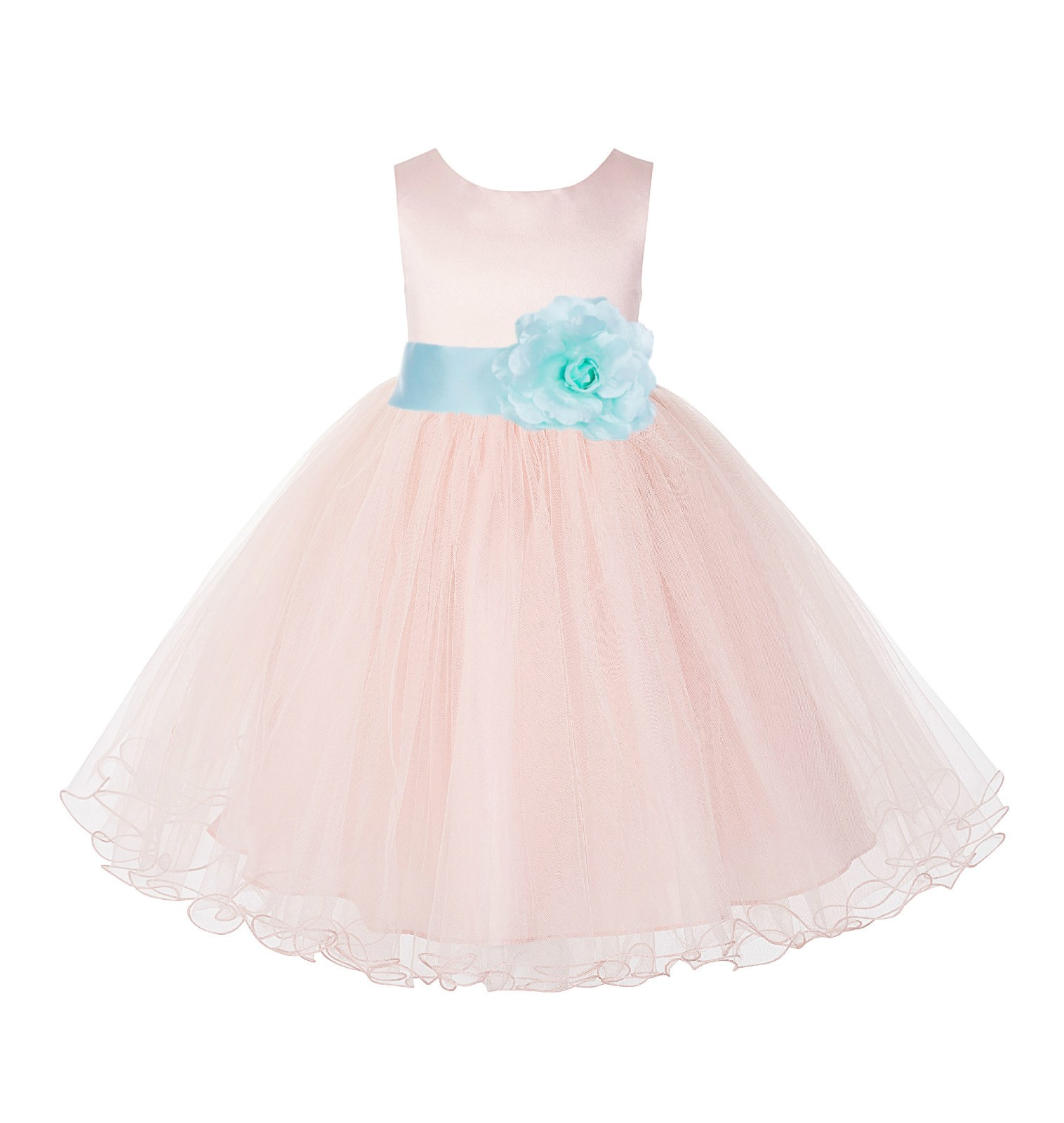 Blush Pink / Mint Tulle Rattail Edge Flower Girl Dress Pageant Recital 829S