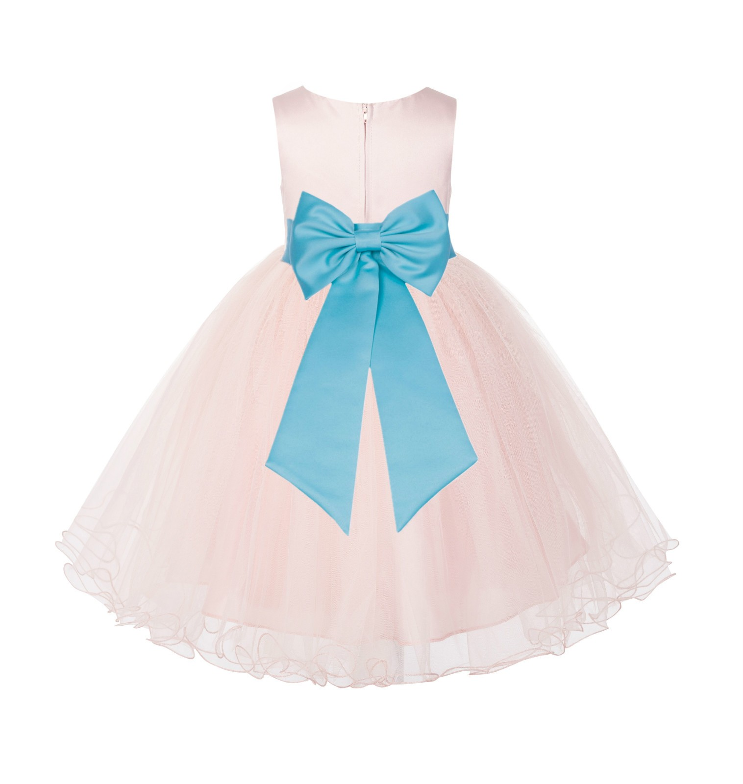 Blush PInk / Spa Tulle Rattail Edge Flower Girl Dress Wedding Bridesmaid 829T