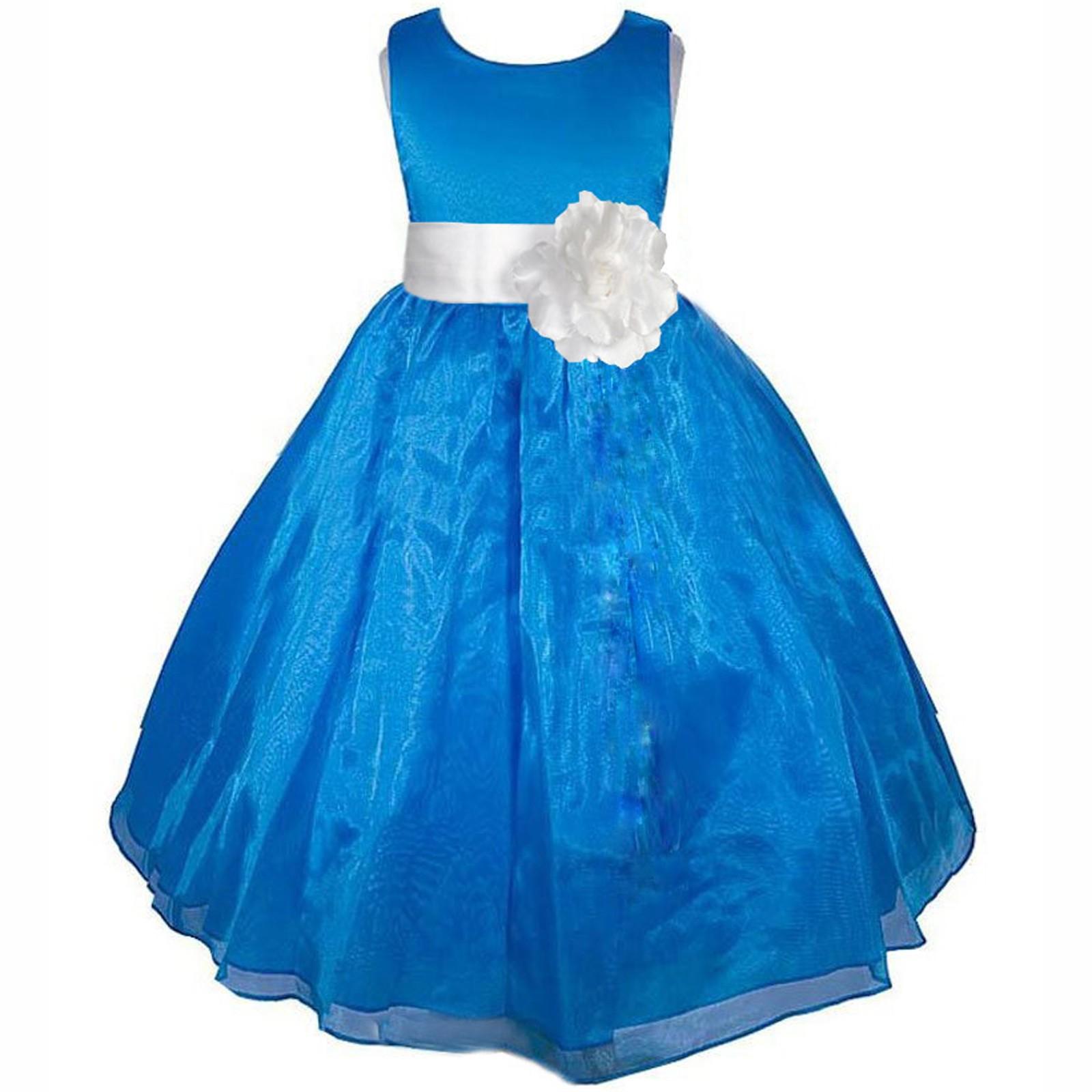 Royal Blue/White Satin Bodice Organza Skirt Flower Girl Dress 841T ...