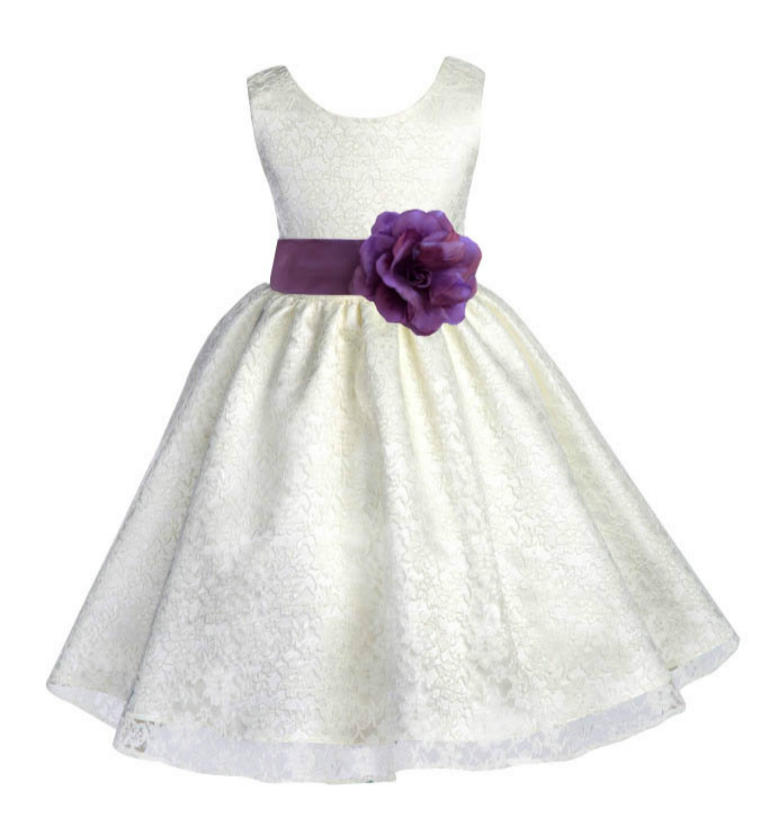 Ivory/Wisteria Floral Lace Overlay Flower Girl Dress Special Event 163S