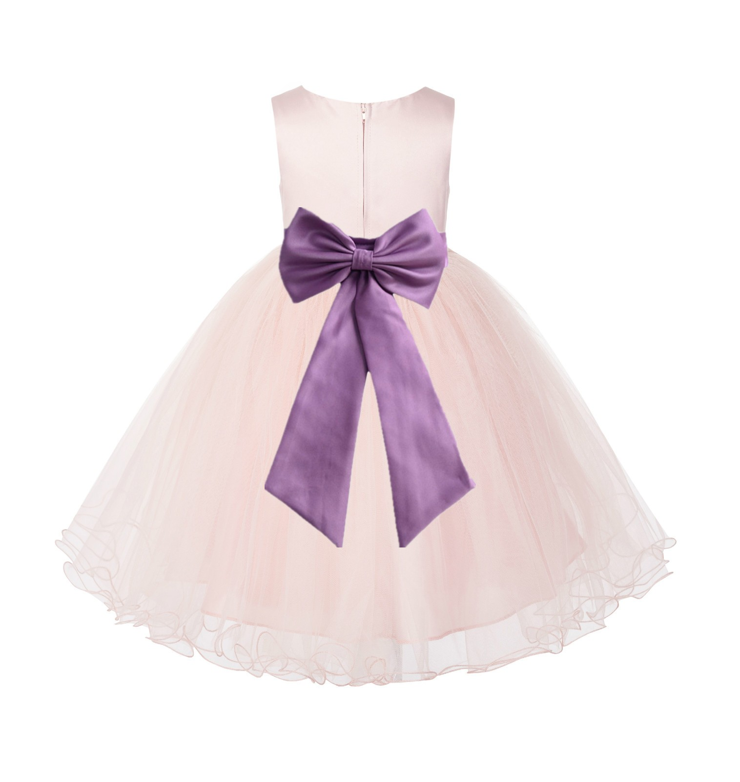 Blush PInk / Wisteria Tulle Rattail Edge Flower Girl Dress Wedding Bridesmaid 829T