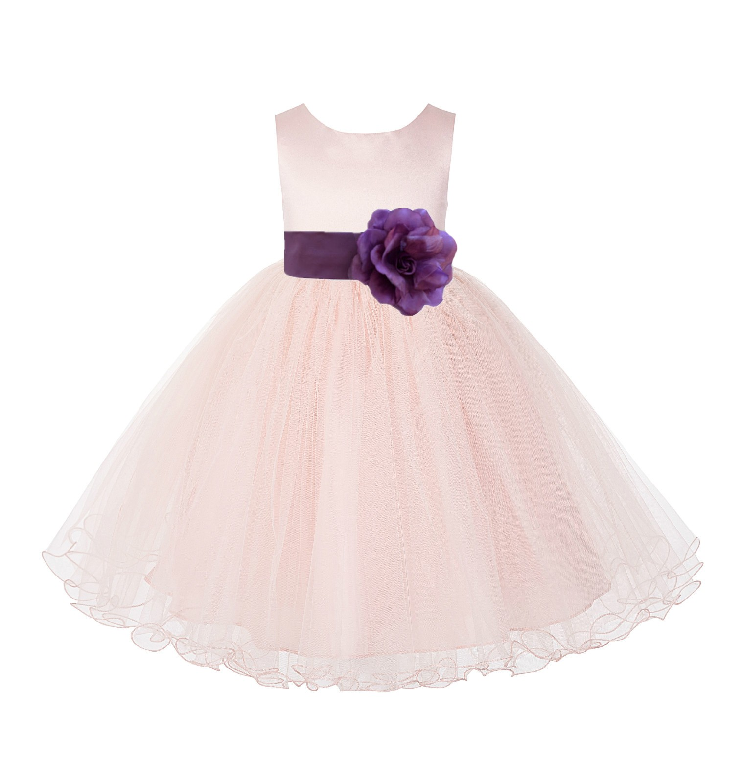 Blush Pink / Wisteria Tulle Rattail Edge Flower Girl Dress Pageant Recital 829S