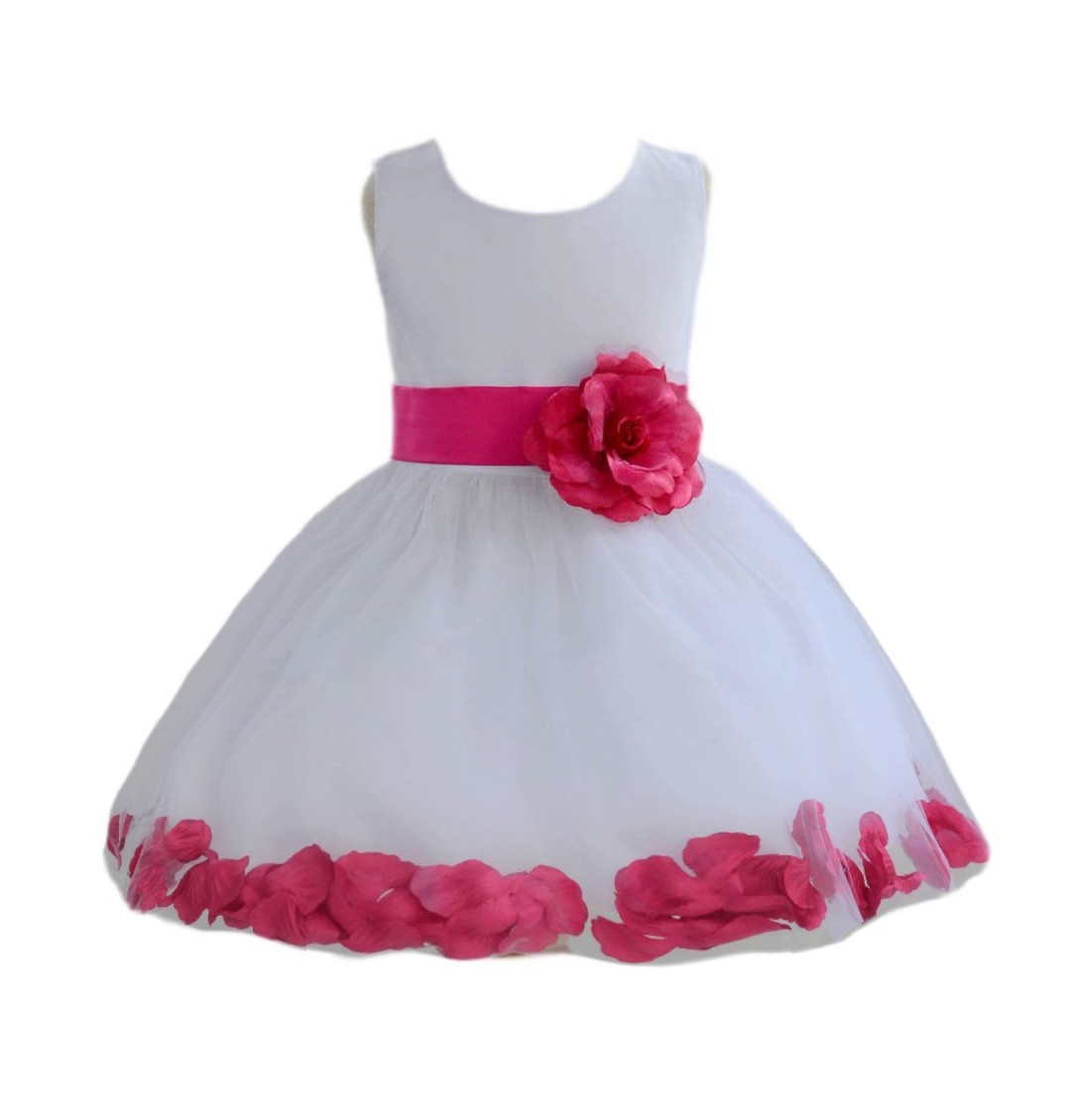 White/ Watermelon PInk Rose Petals Tulle Flower Girl Dress Wedding 305T