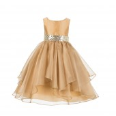 Gold Asymmetric Ruffled Organza Sequin Flower Girl Dress 012S