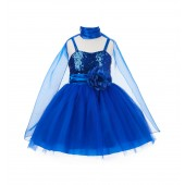 Royal Blue Shawl Sequin Tulle Flower Girl Dress Special Occasions SH1508