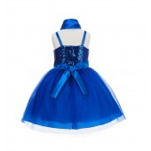 Royal Blue Shawl Sequin Tulle Flower Girl Dress Special Events 1508NF