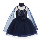 Marine Shawl Sequin Tulle Flower Girl Dress Special Occasions SH1508