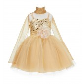 Gold Shawl Spaghetti-Straps Sequin Tulle Flower Girl Dress Elegant B-SH1508NF