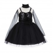 Black Shawl Sequin Tulle Flower Girl Dress Special Events 1508NF