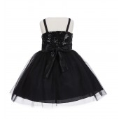 Black Sequin Tulle Flower Girl Dress Special Occasions 1508S