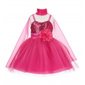 Fuchsia Shawl Sequin Tulle Flower Girl Dress Special Events 1508NF
