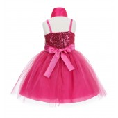 Fuchsia Shawl Sequin Tulle Flower Girl Dress Special Occasions SH1508