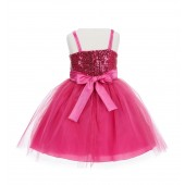 Fuchsia Sequin Tulle Flower Girl Dress Special Occasions 1508S
