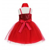 Red Shawl Sequin Tulle Flower Girl Dress Special Occasions SH1508