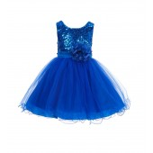 Royal Blue Glitter Sequin Tulle Flower Girl Dress Pretty Princess B-011