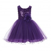 Purple Glitter Sequin Tulle Flower Girl Dress Pretty Princess B-011