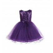 Purple Glitter Sequin Tulle Flower Girl Dress Pretty Princess B-011