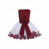 Burgundy Rose Petals Tulle Flower Girl Dress Special Gown 305NT