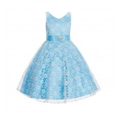 Turquoise/Ivory Floral Lace Overlay V-Neck Rhinestone Flower Girl Dress 166S