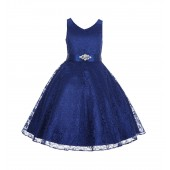 Navy Blue Floral Lace Overlay V-Neck Rhinestone Flower Girl Dress 166S