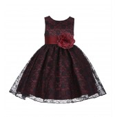 Burgundy/Black/Burgundy Floral Lace Overlay Flower Girl Dress Formal Beauty 163S