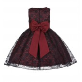 Burgundy/Black/Burgundy Floral Lace Overlay Flower Girl Dress Elegant Beauty 163T