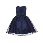Marine Floral Lace Overlay Flower Girl Dress Elegant Beauty 163T