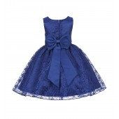 Navy Blue Floral Lace Overlay Flower Girl Dress Elegant Beauty 163T