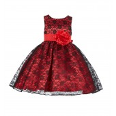 Red/Black/Red Floral Lace Overlay Flower Girl Dress Formal Beauty 163S