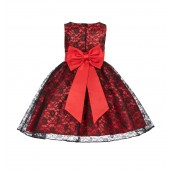 Red/Black/Red Floral Lace Overlay Flower Girl Dress Elegant Beauty 163T
