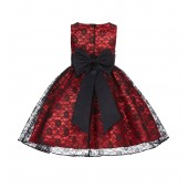 Red/Black/Black Floral Lace Overlay Flower Girl Dress Elegant Beauty 163T