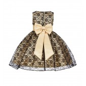 Gold/Black/Gold Floral Lace Overlay Flower Girl Dress Elegant Beauty 163T