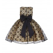 Gold/Black/Black Floral Lace Overlay Flower Girl Dress Elegant Beauty 163T