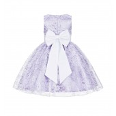 Lilac/White Floral Lace Overlay Flower Girl Dress Elegant Beauty 163T