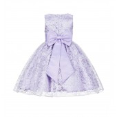 Lilac Floral Lace Overlay Flower Girl Dress Elegant Beauty 163T